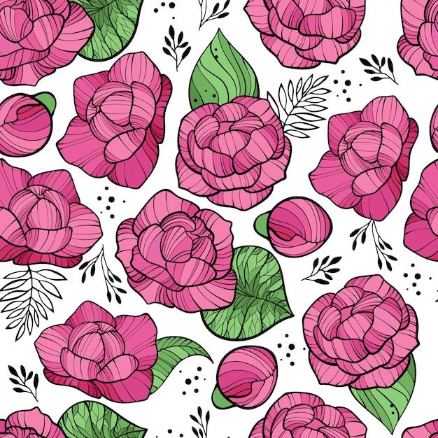 Naadloos bloemenpatroon met roze pioenen Premium Vector