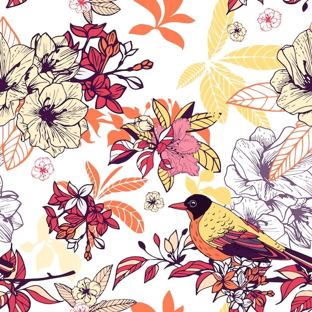Naadloos bloemenpatroon met vogel Gratis Vector
