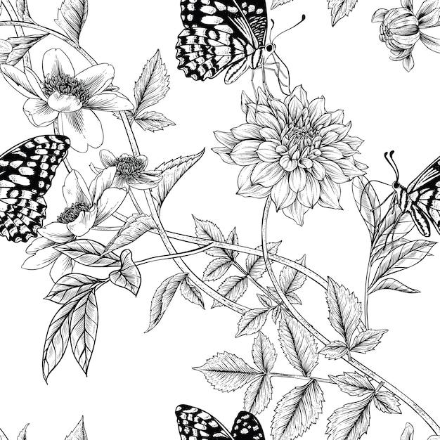 Naadloos bloemenpatroon Premium Vector
