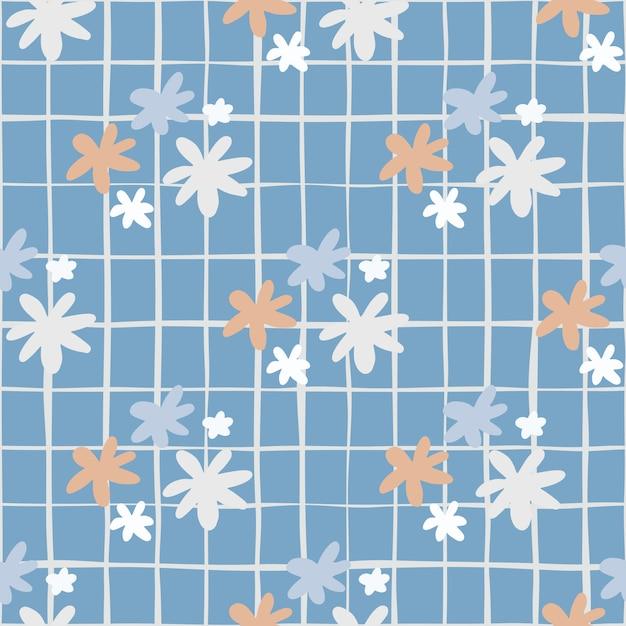 Naadloos botanisch patroon met madeliefjebloemen. blauwe achtergrond met cheque. eenvoudige achtergrond. Premium Vector