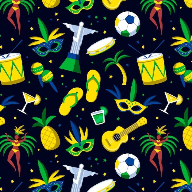 Naadloos braziliaans carnaval-patroon met muziekinstrumenten Gratis Vector