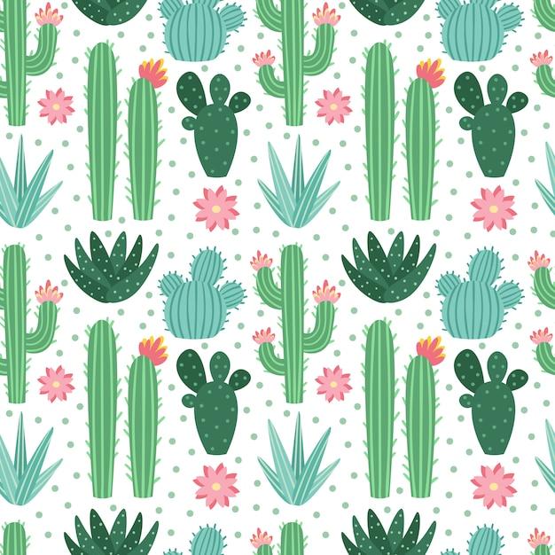 Naadloos cactuspatroon. exotische kamerplanten van woestijncactussen, herhalende cactussenachtergrond Premium Vector
