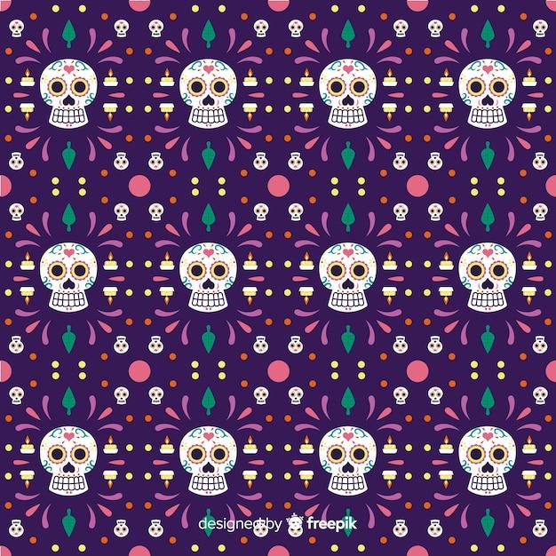 Naadloos dia de muertos patroon in violet Gratis Vector