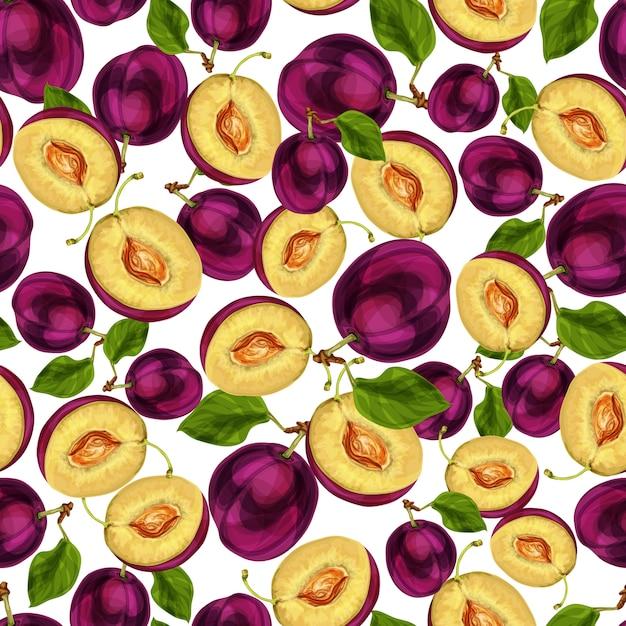 Naadloos die pruimfruit in de helft met zaadbladeren en de sappige vectorillustratie van de vleespatroonhand getrokken schets wordt gesneden Gratis Vector
