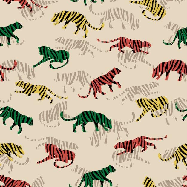 Naadloos exotisch patroon met abstracte silhouetten van tijgers. Premium Vector