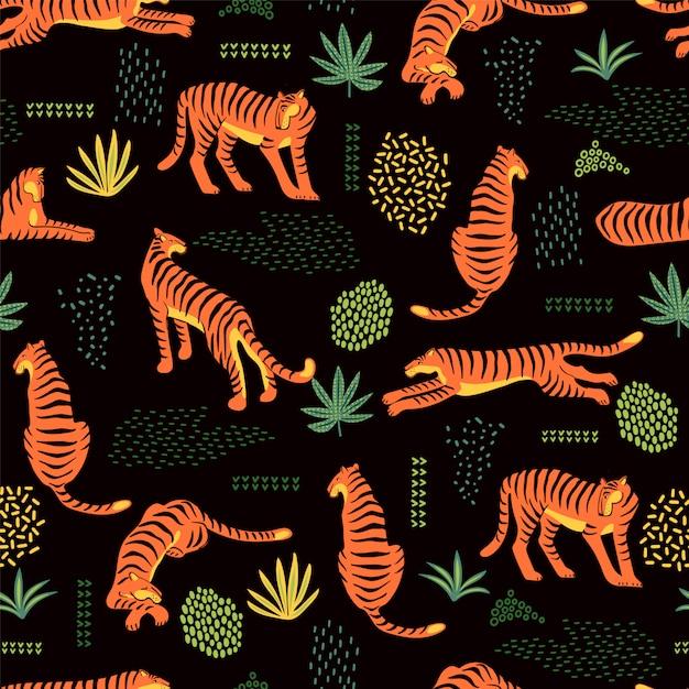 Naadloos exotisch patroon met tijgers en abstracte elementen. Premium Vector