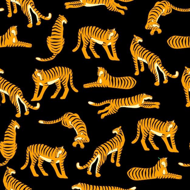 Naadloos exotisch patroon met tijgers. Premium Vector