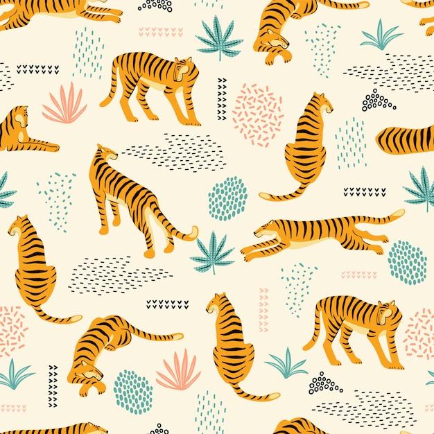 Naadloos exotisch patroon met tijgers Premium Vector