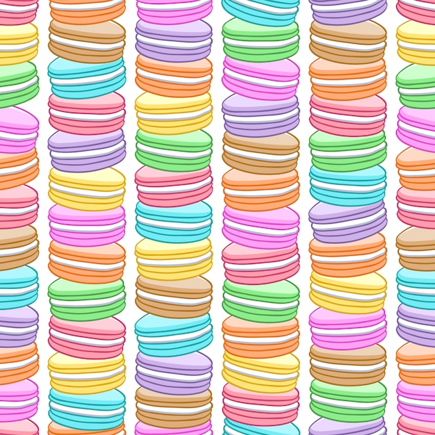 Naadloos geassorteerd macarons patroon. Premium Vector