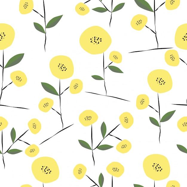 Naadloos hand getrokken leuk de lente bloemenpatroon Premium Vector
