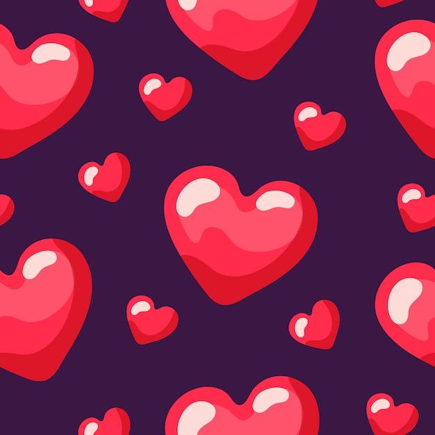 Naadloos herhalend patroon van rode kleine en grote harten, Premium Vector