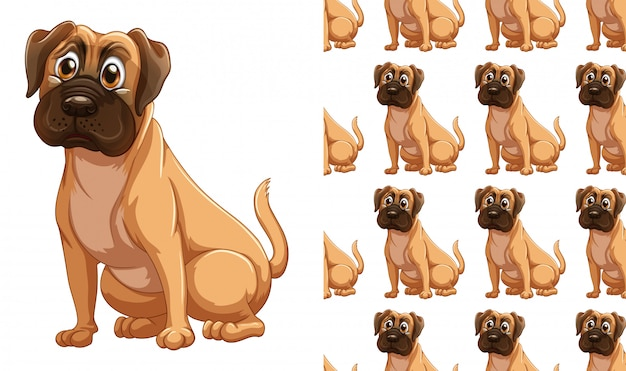 Naadloos hond dierlijk patroonbeeldverhaal Gratis Vector