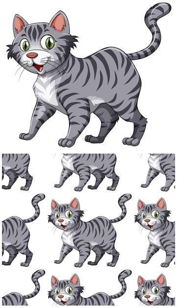 Naadloos kattenpatroon dat op wit wordt geïsoleerd Gratis Vector