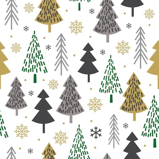 Naadloos kerstmispatroon met boomontwerp, kerstmisachtergrond, decoratief document, geschikt voor giftomslag, behang, vectorillustratie Premium Vector