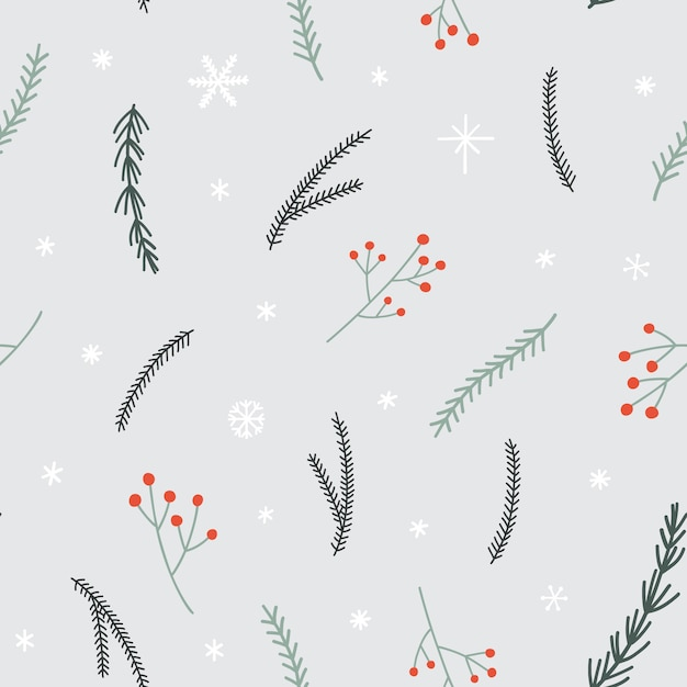 Naadloos kerstmispatroon met pijnboomtakken, sneeuwvlokken en rood bessentakje. Premium Vector