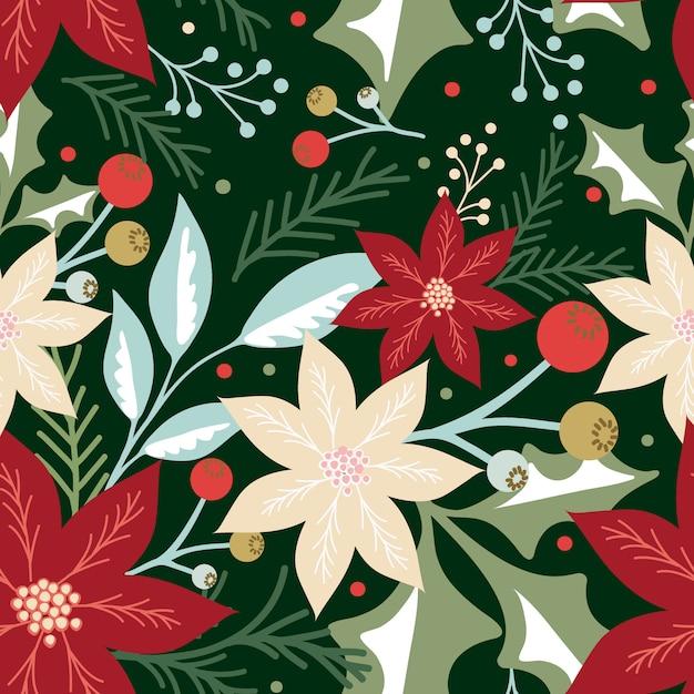 Naadloos kerstpatroon met blad, bessen en poinsettia Premium Vector
