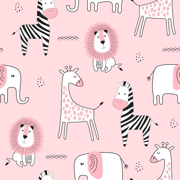 Naadloos kinderachtig patroon met schattige dieren Premium Vector