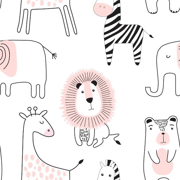 Naadloos kinderachtig patroon met schattige dieren. Premium Vector