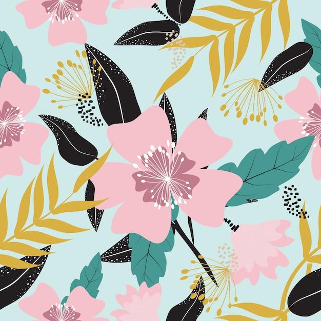 Naadloos kleurrijk tropisch de lente bloemenpatroon Premium Vector