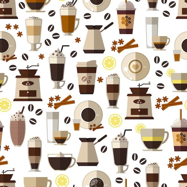 Naadloos koffiepatroon in vlakke stijl. mok en ontbijt, drank en espresso, warm en cafeïne. Gratis Vector