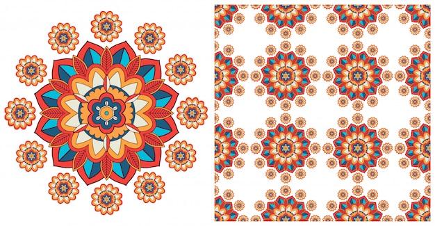 Naadloos met kleurrijk mandala'spatroon Gratis Vector