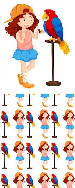 Naadloos ontwerp met meisje en papegaai Gratis Vector