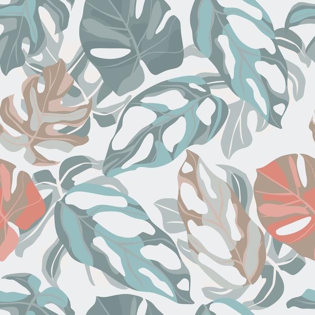 Naadloos pastel zacht botanisch patroon met monsterabladornament. Premium Vector