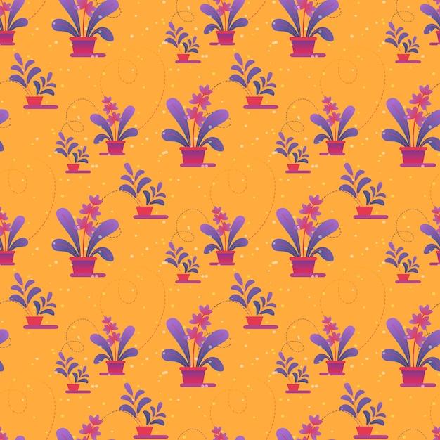 Naadloos patroon, afdrukken van kamerplanten in potten Premium Vector
