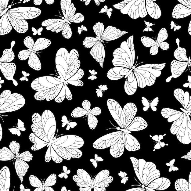 Naadloos patroon als achtergrond van mooie vlinders Gratis Vector