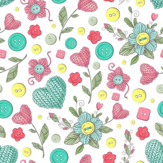 Naadloos patroon handgemaakte gebreide bloemen en elementen en accessoires voor haken en breien Premium Vector