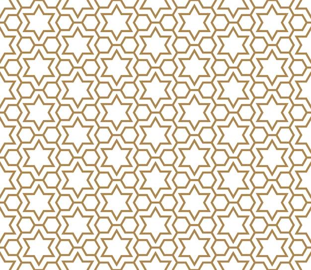 Naadloos patroon in gouden en wit Premium Vector