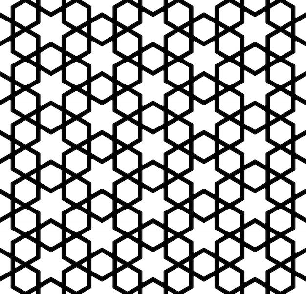Naadloos patroon in zwart en wit in dikke lijnen. Premium Vector