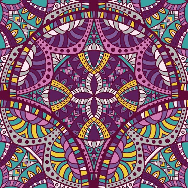 Naadloos patroon mandala vectorontwerp voor druk. tribal ornament. Premium Vector