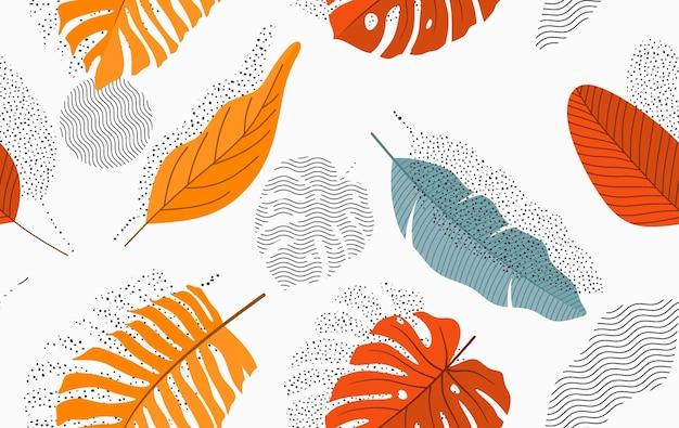 Naadloos patroon met abstracte bladeren. Premium Vector