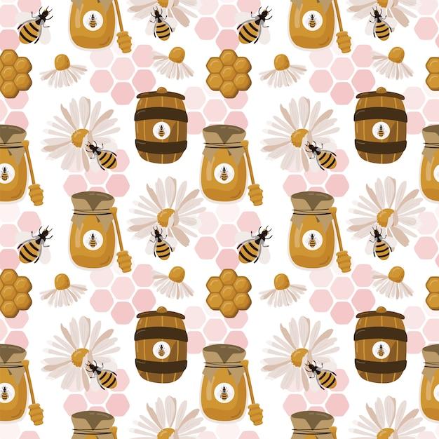 Naadloos patroon met bij, honing en honingraat. Premium Vector