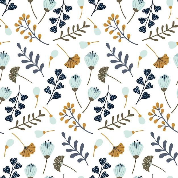 Naadloos patroon met bladeren en bloemenelementen. Premium Vector