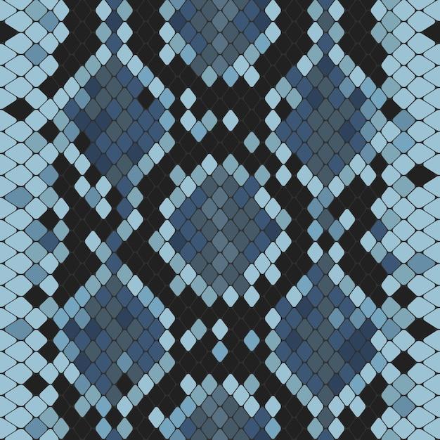 Naadloos patroon met blauwe pythonafdruk Premium Vector