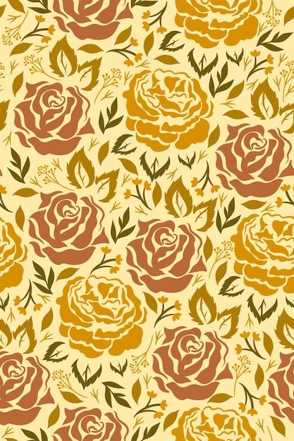 Naadloos patroon met bloemen in mosterdkleuren. vectorafbeeldingen. Premium Vector