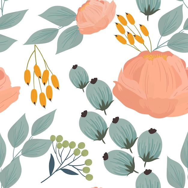 Naadloos patroon met bloemen, takken, bladeren Premium Vector