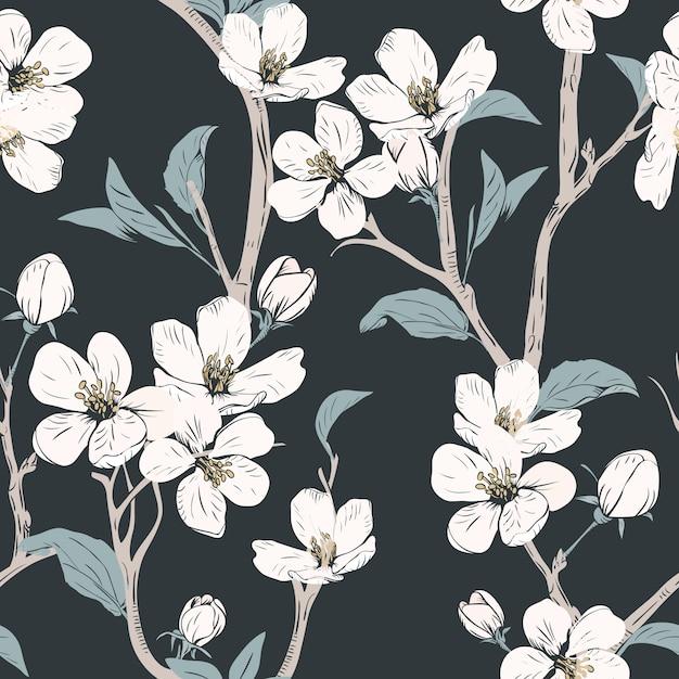 Naadloos patroon met bloemen. Premium Vector