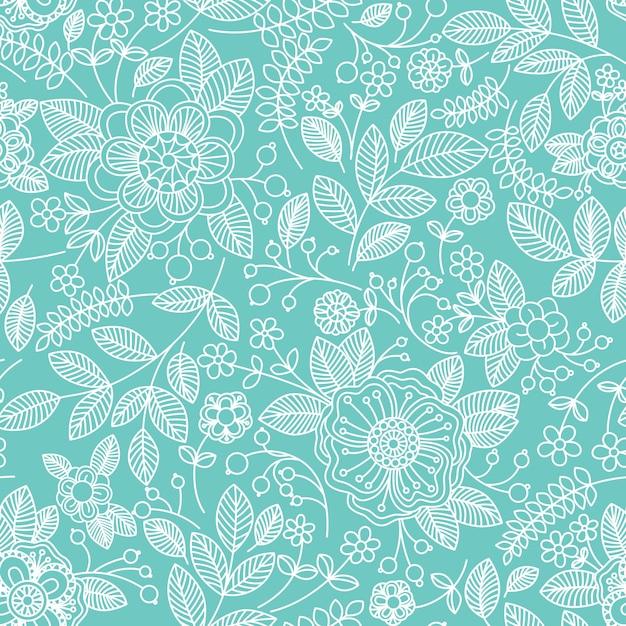 Naadloos patroon met bloemen Premium Vector