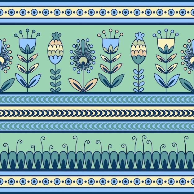 Naadloos patroon met bloemenornament in de decoratieve banden Premium Vector