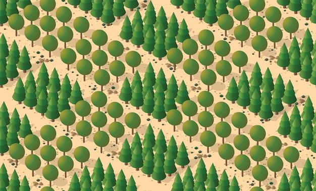 Naadloos patroon met bomen Premium Vector