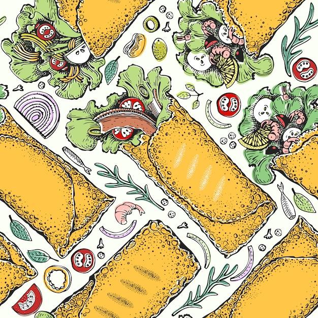 Naadloos patroon met burrito. mexicaans eten Premium Vector