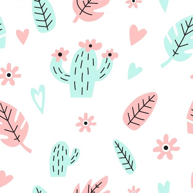 Naadloos patroon met cactus, bladeren en harten. Premium Vector