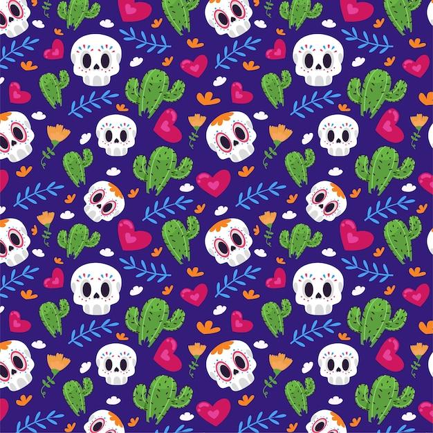 Naadloos patroon met cactussen en schedels Gratis Vector