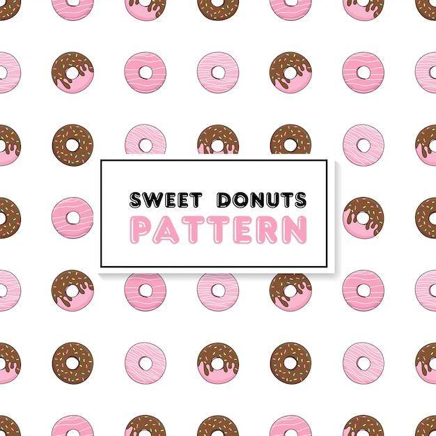 Naadloos patroon met chocolade roze donuts. Premium Vector