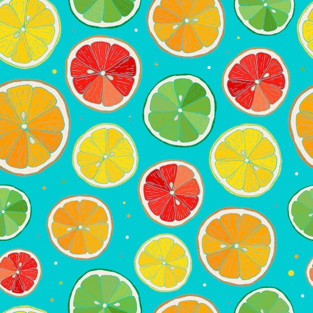 Naadloos patroon met citrusvruchten Premium Vector