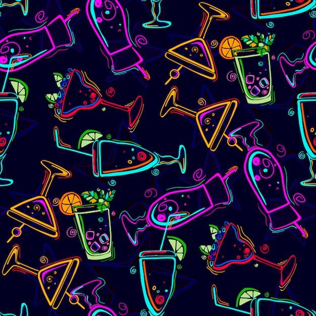 Naadloos patroon met cocktails. Premium Vector
