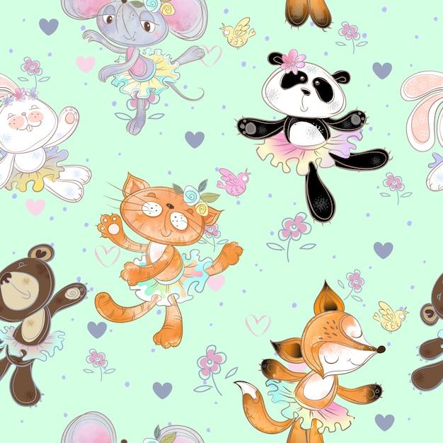Naadloos patroon met dansende dieren. kitty fox-muisbeer en konijn. ballerina's. Premium Vector